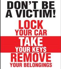 Crime Prevention Vehicle Theft Sign