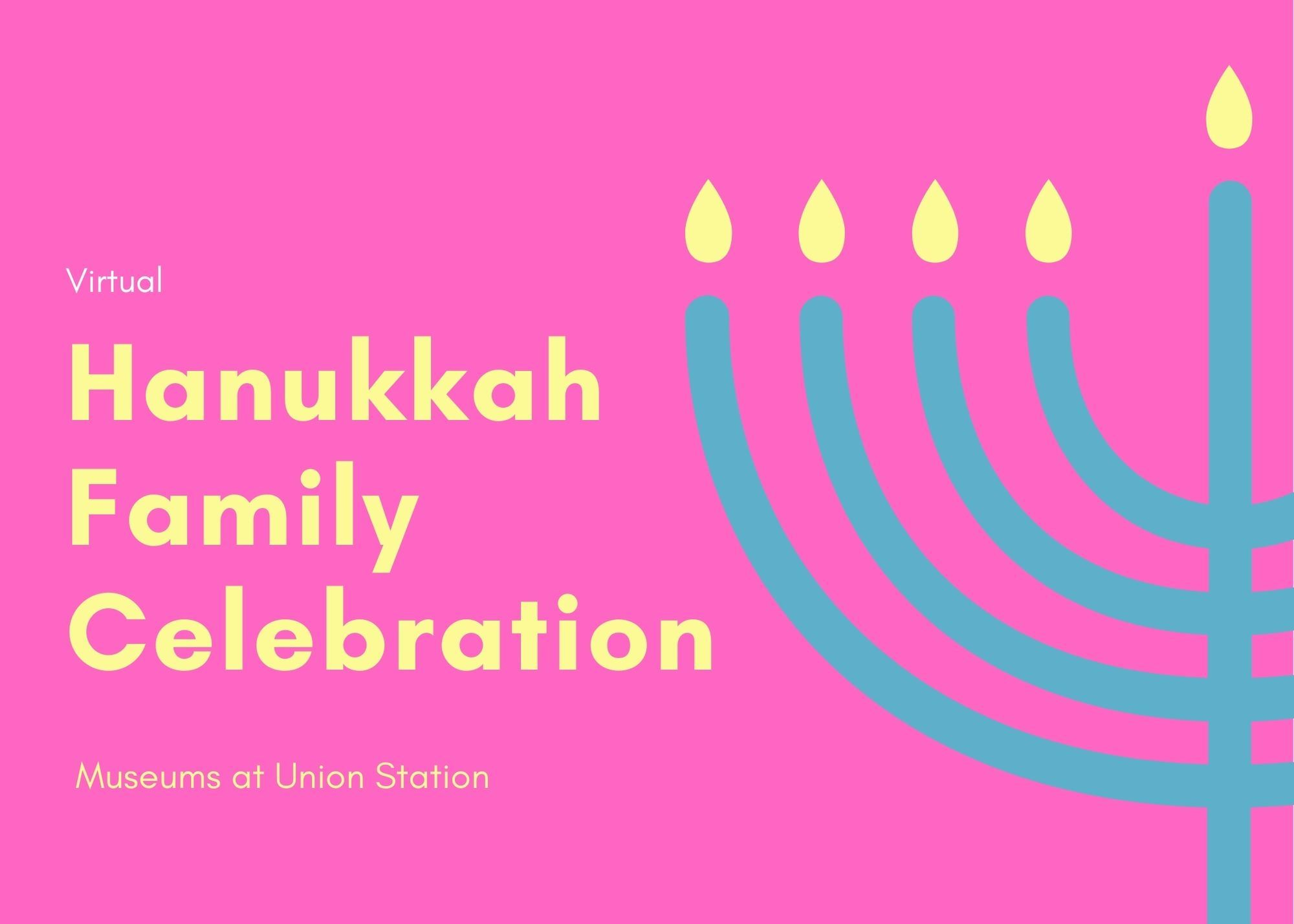 Pink Menorah Illustration Hanukkah Card