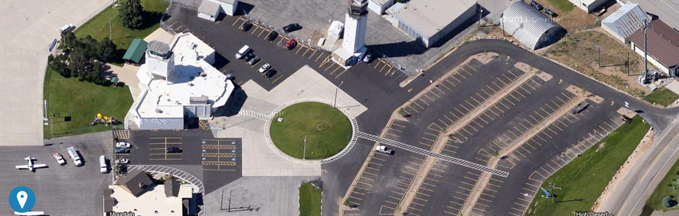 An aerial view of the parking lot at Ogden-Hinckley Airport