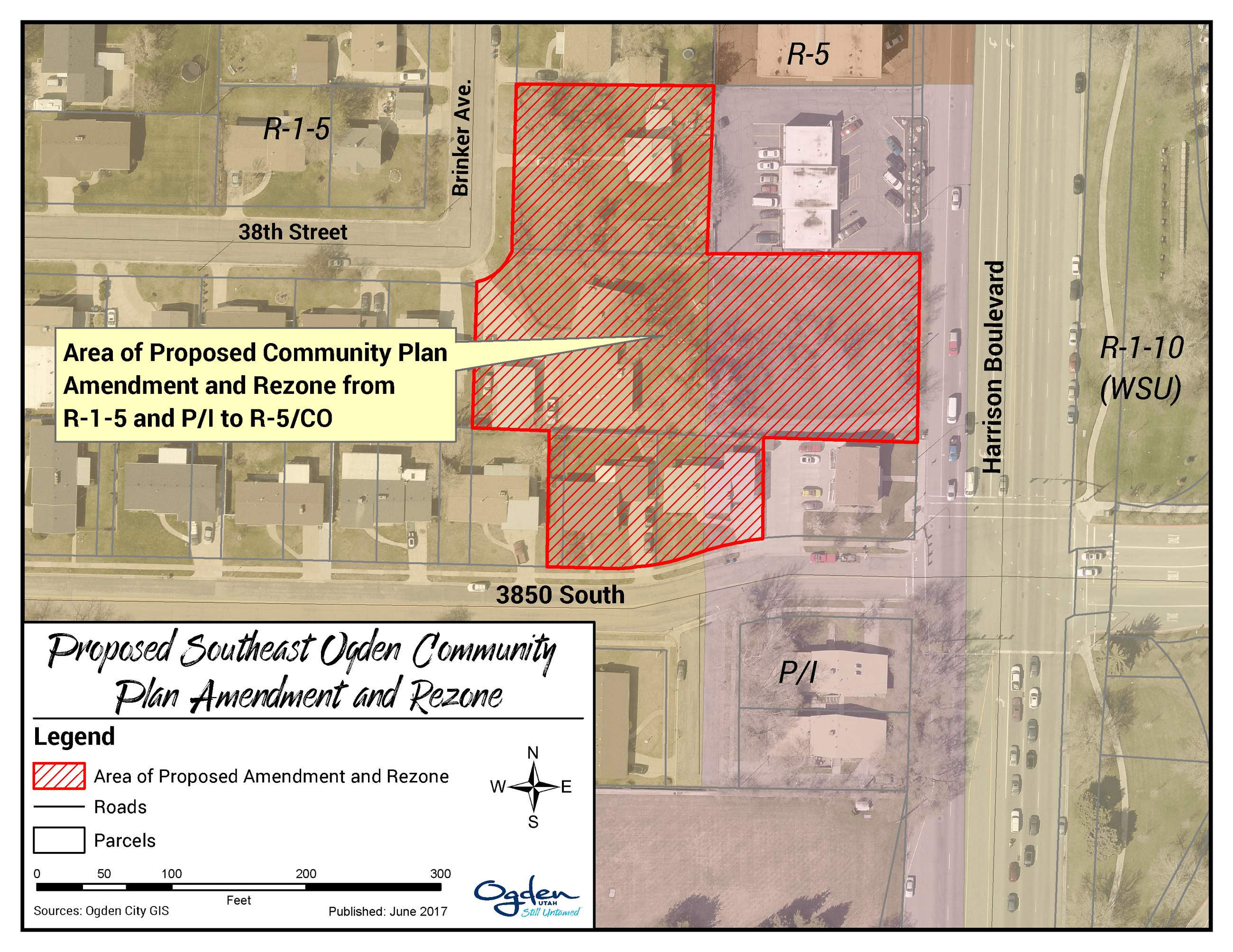 Proposed Harrison Student Housing Rezone Map