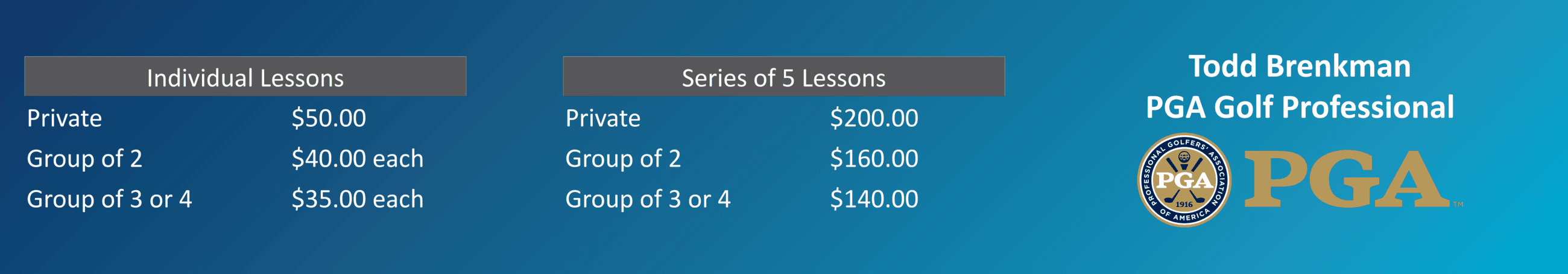 Lesson price board