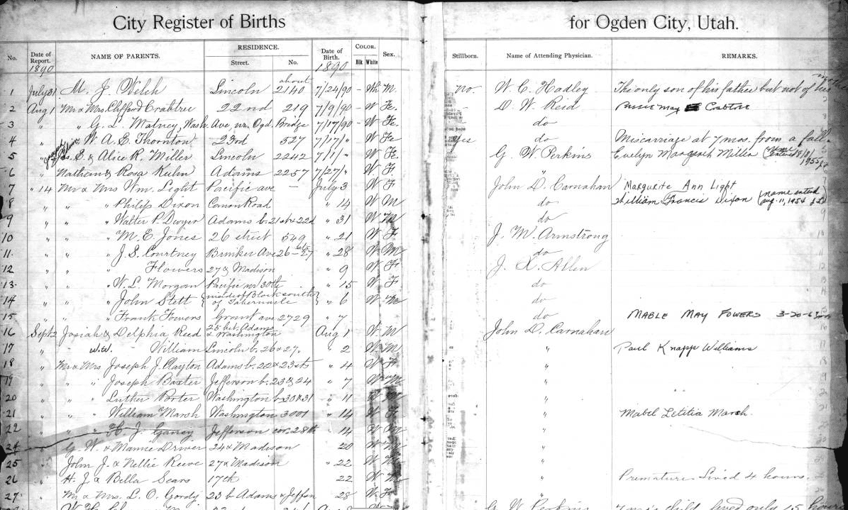 Register of Births  (This book is kept at the Utah State Archives and includes years 1890-1905)