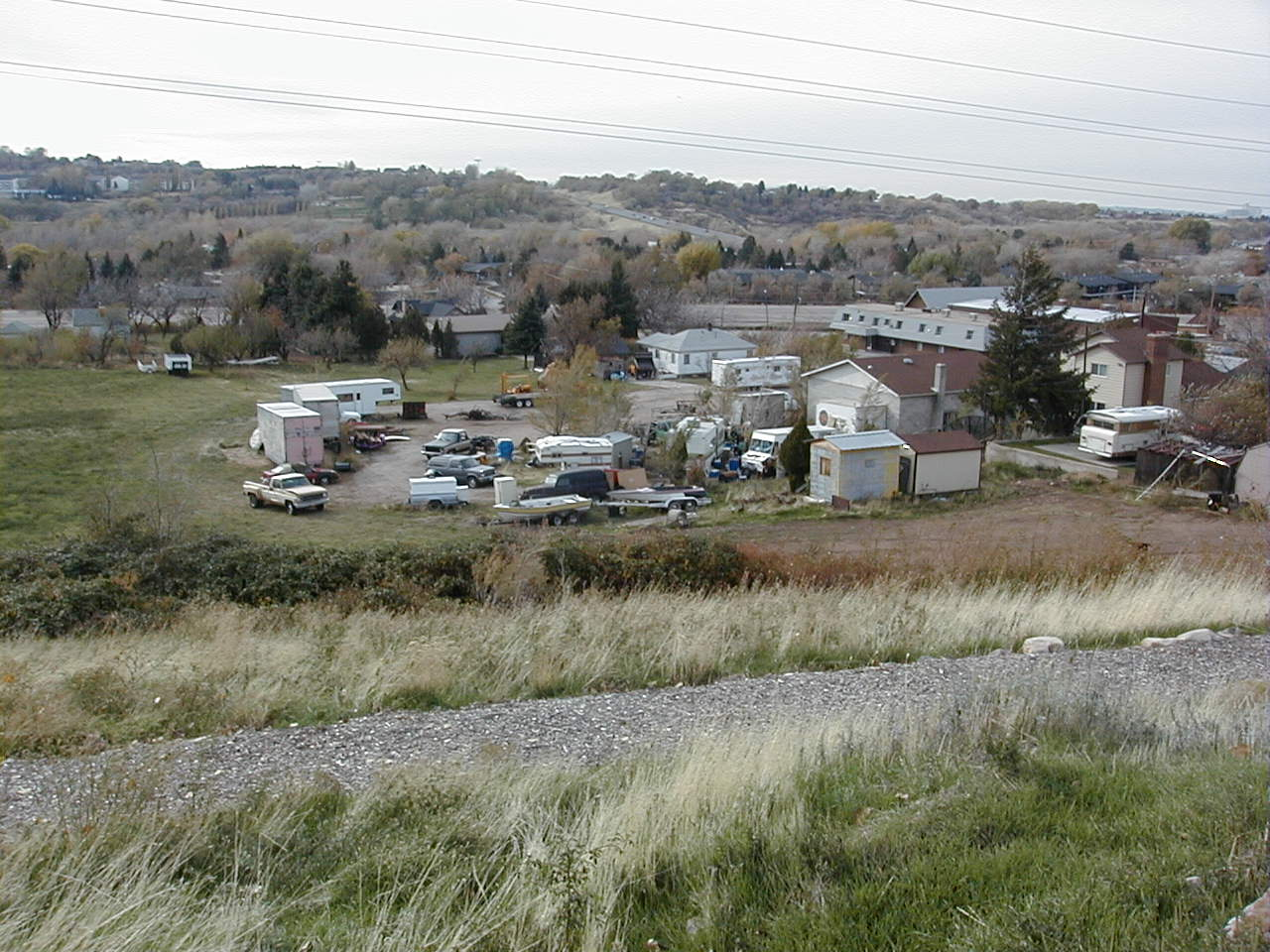 A vacant lot filled with old cars and trailers surrounded by tall grass.